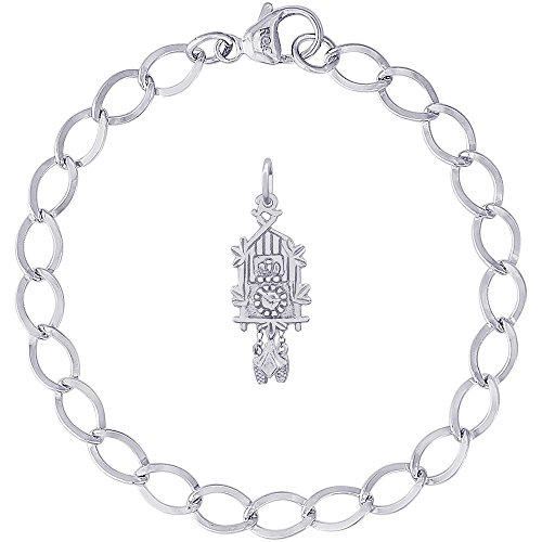 - Rembrandt Charms Sterling Silver Cuckoo Clock Charm on a Dapped Curb Bracelet, 7