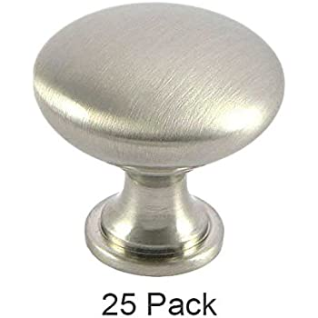 25 Pack of Brookwood Brushed Satin Nickel Cabinet Hardware Round Mushroom Knobs