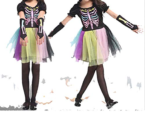 Halloween Party Skeleton Costume Rainbow Colorful Dress Horror Trousers Sleeve Covers Clothes,Style 2,M -