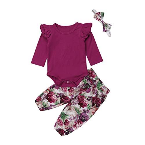 (Newborn Baby Girls Outfit Ruffle Shirts Romper Bodysuit+Floral Halen Pants +Headband 3Pcs Clothes Set (z Wine red 2, 6-12 Months))
