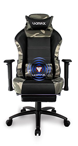 - Uomax Gaming Chair Racing Style High Back Executive Office Desk Chair Reclining Ergonomic Swivel Racing Chair with Lumbar Massage Function, Adjustable Armrests and Retractable Footrest (Black Camo)