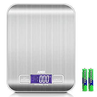 ORIA Digital Kitchen Scale, 5kg, 0.05oz/ 1g Cooking Scale, High Accuracy Food Scale, 6 Units, Back-Lit LCD Display, Tare, Auto Off Function, Stainless Steel, Battery Included