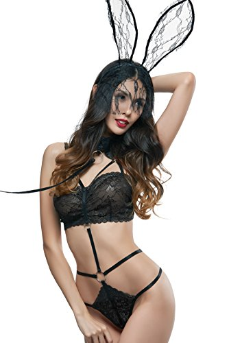 GIVE ME MORE Women's Sexy Lingerie Black Color One Piece With Thong And Sexy Collar Trim and headband For Sex (One Size, Black)
