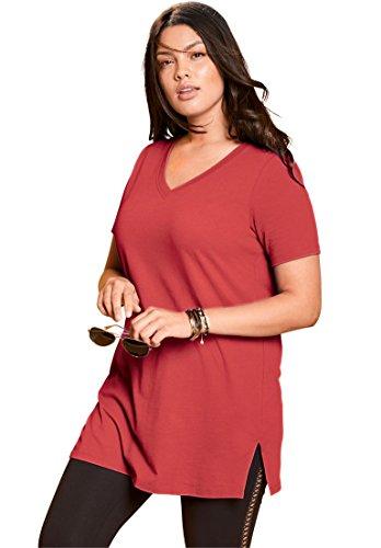 Roamans Womens Plus Size V Neck Maxi Tunic