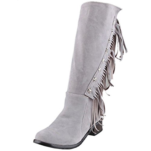 Cerniera Donna RAZAMAZA Con Gray Stivali CqSw78T
