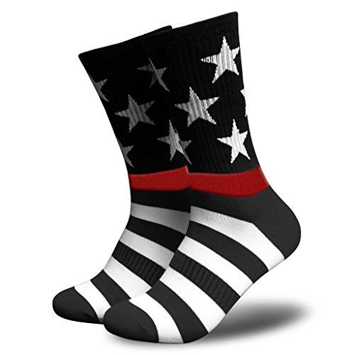 American Flag Socks for Men or Women, Patriotic USA Freedom High Socks, Premium (Red Line, Mens) -