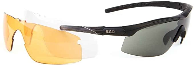 5.11 Tactical Accelar Men/'s Ballistic Black Sunglasses w// 3 Interchangeable Lens