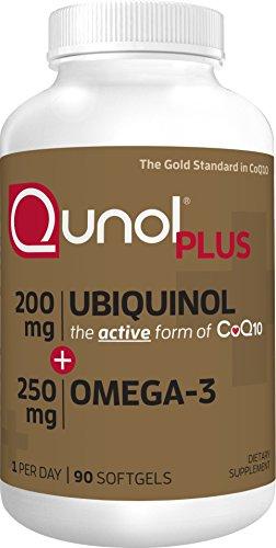 Qunol Ubiquinol + Omega 3 Plus CoQ10 200mg, Extra Strength Ubiquinol Plus DHA and EPA for Heart and Vascular Health, Natural Supplement Active Form of CoQ10, Powerful Antioxidant, 90 (Coq10 Plus Vitamin)