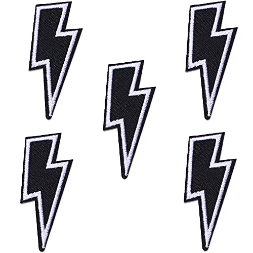 J.CARP 5Pcs Black Lightning Embroidered Iron on Patch for Clothes, Iron-on Patches / Sew-on Appliques Patches for Vest, Jackets, Backpacks, Caps, Jeans to Cover Holes / Logo