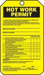 Accuform TCS361PTP Hot Work Status Tag, Legend''HOT WORK PERMIT (CHECKLIST)'', 5.75'' Length x 3.25'' Width x 0.015'' Thickness, RP-Plastic, Black on Yellow (Pack of 25)