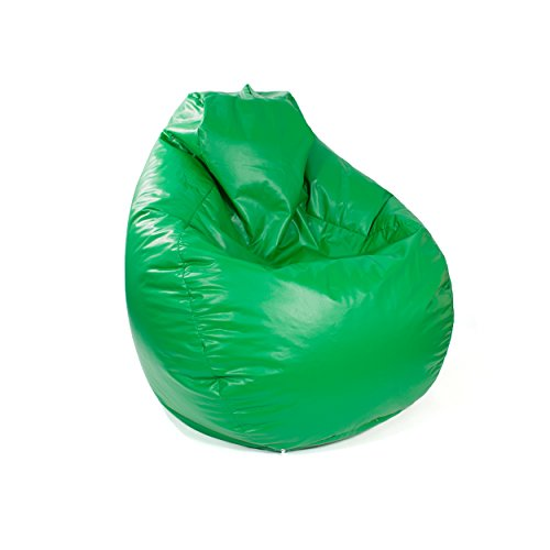 Gold Medal Bean Bags Tear Drop Leather Look Vinyl Bean Bag, Large, Green by Gold Medal Bean Bags