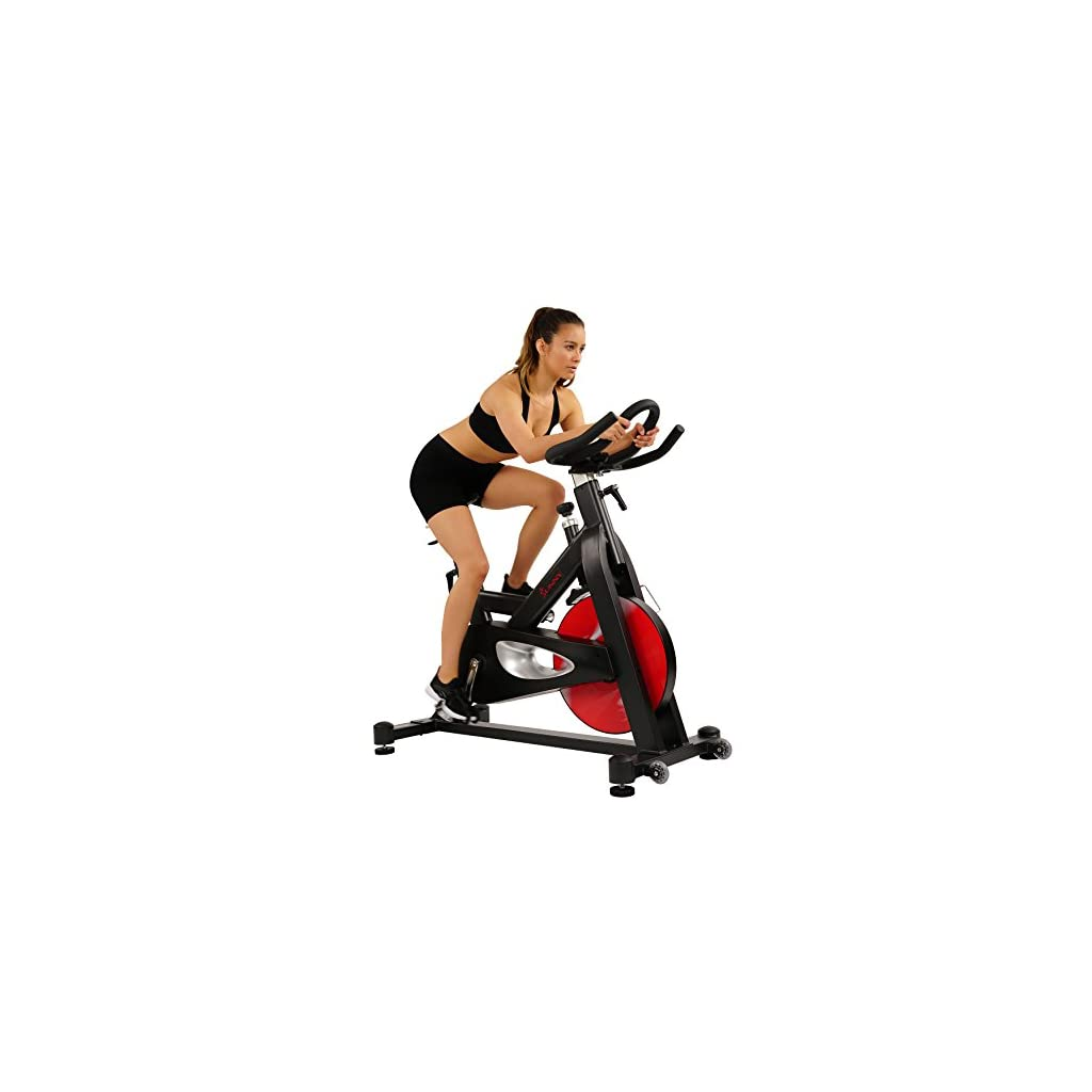 Sunny Health & Fitness Evolution Pro Magnetic Belt Drive Indoor Cycling Bike, High Weight Capacity, Heavy Duty Flywheel – SF-B1714