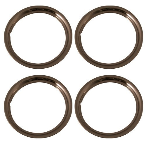 (Set of 4 Stainless Steel 15 Inch Beauty Trim Rings with Metal Clip Retention System - Part Number: IWC1515S)