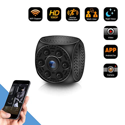 Spy Hidden Camera WiFi Wireless Mini Camera?HD 1080P Spy Camera with 170 Degree Wide-Angle View, Night Vision Nanny Cam Motion Detection Home Office Security Suveillance Cameras