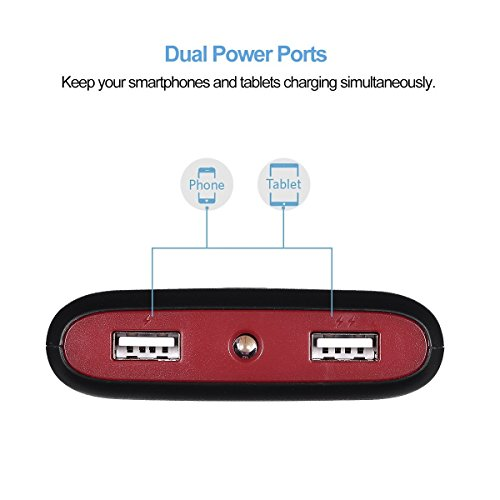 Poweradd Pilot X7 20000mAh twin USB return compact Charger External Battery strength Bank with built in LED Flashlight for iPhone iPad Samsung and more Black and Red splash Accessories