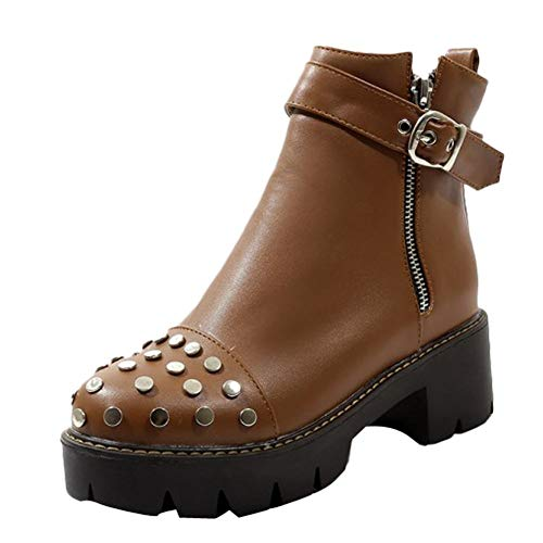 Boots Zip Carolbar Rivets Platform Casual Brown Women's twwaqCnX