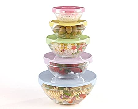 5 piezas del refrigerador - juego de plato de cristal con tapa ...