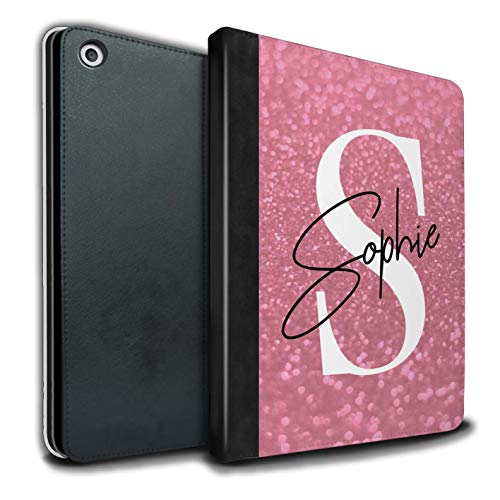 (Personalized Custom Faded Look Glitter Effect PU Leather Case for Apple iPad 9.7 (2017) / Summer Pink Autograph Design/Initial/Name/Text DIY Tablet Book Cover)