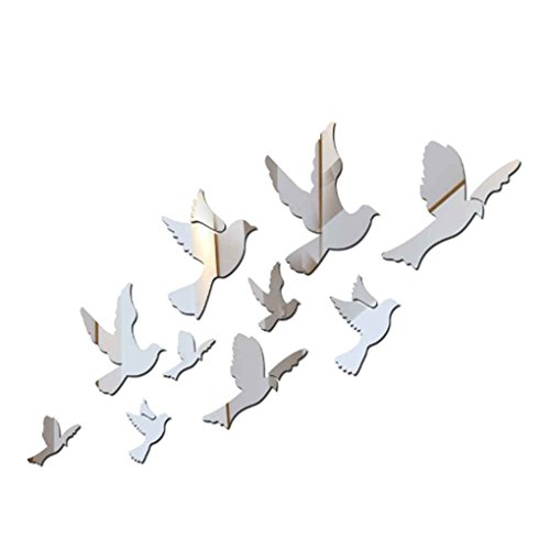 Dove Decal Set - 6pcs/set 3D Silver Doves Mirror Sticker DIY Acrylic Animal Mirrored Wallpaper Home Decoration Decals Omkuwl