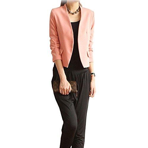 OHTOP Fashion Women Basic Jacket Blazer Suit Puff Sleeve Casual Coat (L, ()