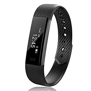 JoyGeek Fitness Tracker, Smart Watch, Smart Bracelet with Pedometer Sleep Monitor and Call/SMS Notification for iPhone X/8/8 Plus Samsung S9/Note 8/S8 (Black)
