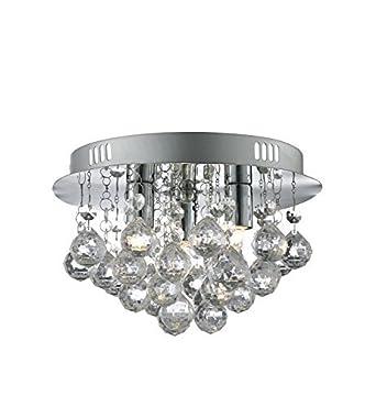 Modern 3 Light Round Polished Chrome Flush Chandelier Ceiling Light Fitting    Living Room Lighting Part 24