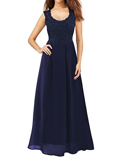 Mulysaa Women's Floral Lace Sleeveless Formal Prom Evening Party Gown Floor Length Bridesmaids Wedding Dress (Medium, Navy Blue)