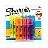 Sharpie 25145 Tank Highlighters, Chisel Tip, Assorted Fluorescent, 12-Count