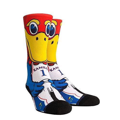 NCAA Super Premium College Fan Socks (L/XL, Kansas Jayhawks - Mascot Big Jay)
