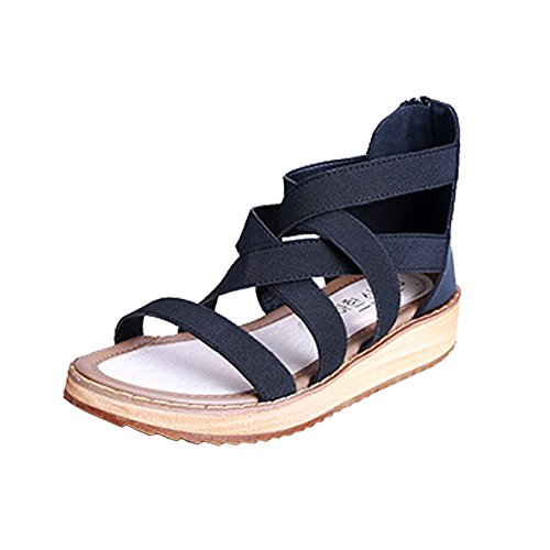 H&W Womens Micro Leather Flat Sandals Gladiator Zipper Close Gum Rubber Soles Black rz1ErTmGbI