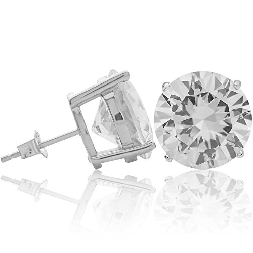 Kezef Creations Sterling Silver .925 CZ Stud Earrings with 12mm Round White Cubic Zirconia Gemstones ()