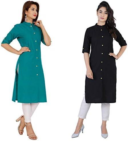 RT Fashion Present Women Pure Cotton Straight Beautiful Solid Color Kurta Combo of 2    Kurta in Combo    Cotton Kurta Combo    Kurta for Women    Kurta for Office Wear