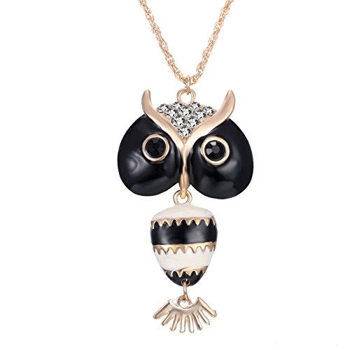 ptk12 Hot Gold Chain Animal Owl Pendants Necklaces Jewelry for Women Fashion Accessories Black by ptk12