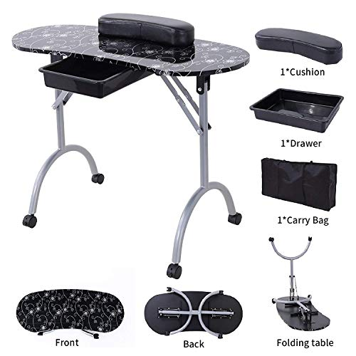 SUNCOO Manicure Nail Table Station Fordable Nails Desk Portable Spa Beauty Salon with Controllable Wheels, 27 Inches Height, Black.