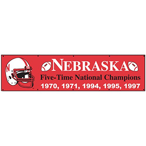 (College Flags and Banners Co. Nebraska Cornhuskers 5 Time Football Champions Large 8 Foot Banner )