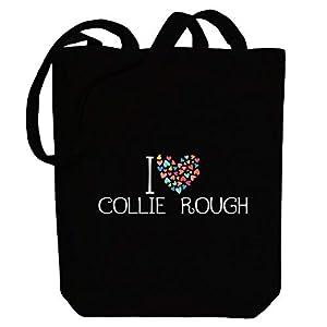 "Idakoos I love Collie Rough colorful hearts Canvas Tote Bag 10.5"" x 16"" x 4"" 6"