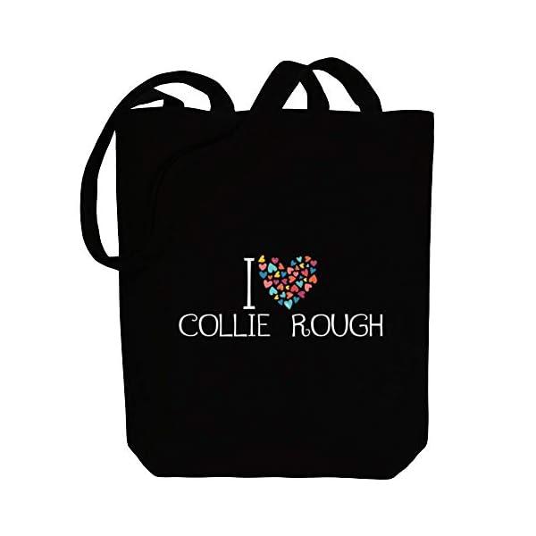 "Idakoos I love Collie Rough colorful hearts Canvas Tote Bag 10.5"" x 16"" x 4"" 1"