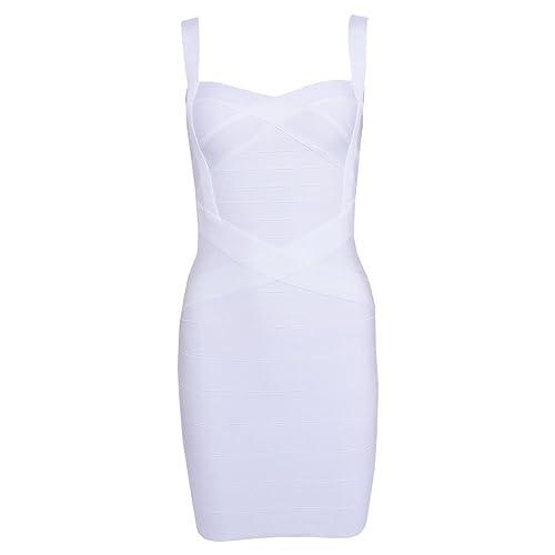 HLBandage Women's Spaghetti Strap Solid Mini Rayon Bandage Dress