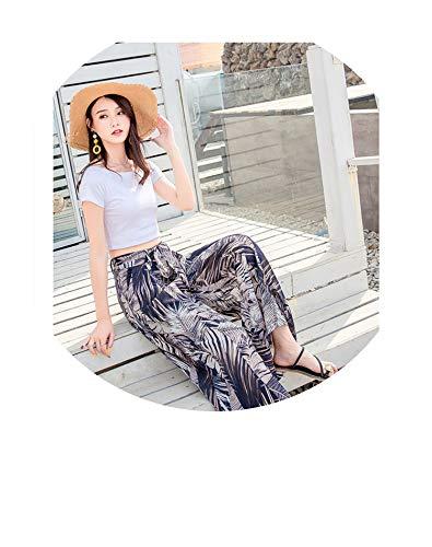 (Real Shot Summer Casual Retro Travel Bohemian Beach Wide Leg Pants Chiffon Printed Beach Holiday Pants,107,XL)