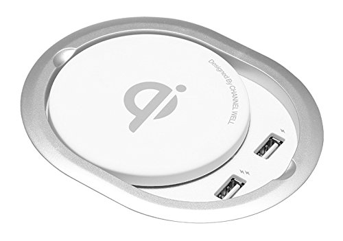 Channel Well Advanced Built-in Wireless Charger (Silver)-Embedded Furniture for All Qi-Enabled Devices (for iPhone 8/ 8Plus, iPhone X, Samsung S7/S8 and More)