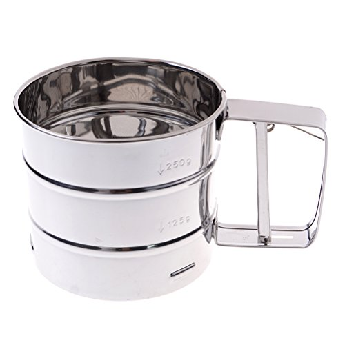 Measuring Flour Sifter - JiaUfmi Stainless Steel Flour Sifter Shaker Sieve Cup Mesh Crank with Measuring Scale Mark for Flouring Icing Sugar