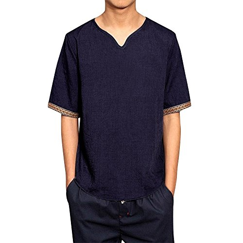 Toimothcn Mens Linen Shirts Casual Short Sleeve V Neck Vintage Tops Loose Blouse(Navy,5XL)