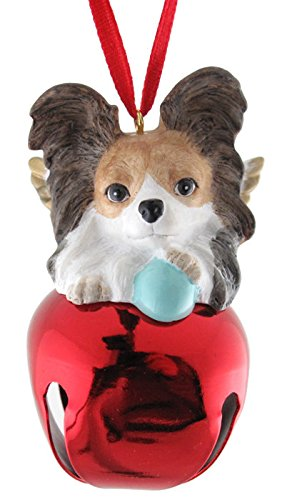StealStreet-SS-D-BL017-A-Cute-Christmas-Holiday-Brown-Papillon-Ornament-Bell-Figurine-Red
