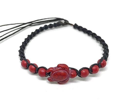 urtle and Stone Beads - Sea Turtle Hemp Bracelet - Adjustable Cord (Red) (Ecolution Hemp Fabric)