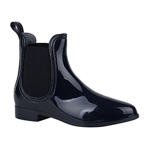 Stiefelparadies Damen Stiefeletten Gummistiefel Lack Chelsea Boots Blockabsatz Regenschuhe Wedges Keilabsatz Schuhe Plateau Boots Flandell Dunkelblau Agueda