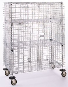 (Metro SEC65EC Super Erecta Chrome Plated Heavy Gauge Wire Mobile Security Storage Unit, 900 lbs Capacity, 52-3/4