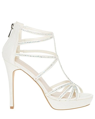 LE CHÂTEAU Women's Embellished Satin Strappy Sandal,39,Ivory by LE CHÂTEAU