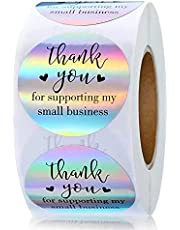 Holographic Thank You Stickers, 500 Pcs 1 Inch Thank You for Supporting My Small Business Stickers, Thank Label Stickers for Business Packaging Bags, Envelope, Greeting Cards, Gift Wraps (Style A)