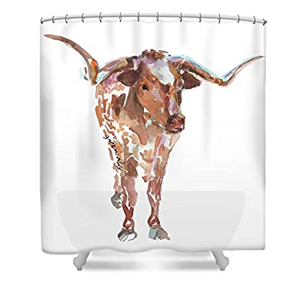 Pixels Shower Curtain 74quot X 71quot QuotThe Original Longhorn Standing