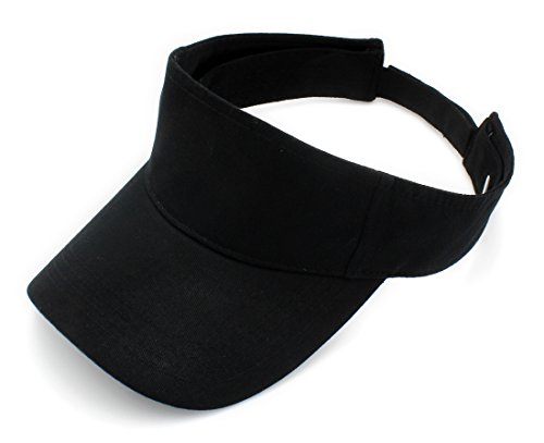 Top Level Sun Sports Visor Men Women - 100% Cotton One Size Cap Hat, BLK Cotton Twill Long Visor